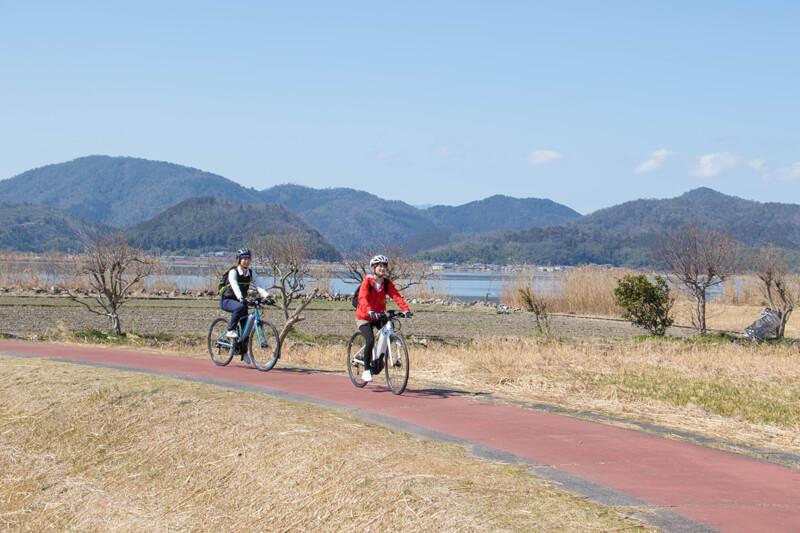 西の湖畔のよこ笛ロードを走る