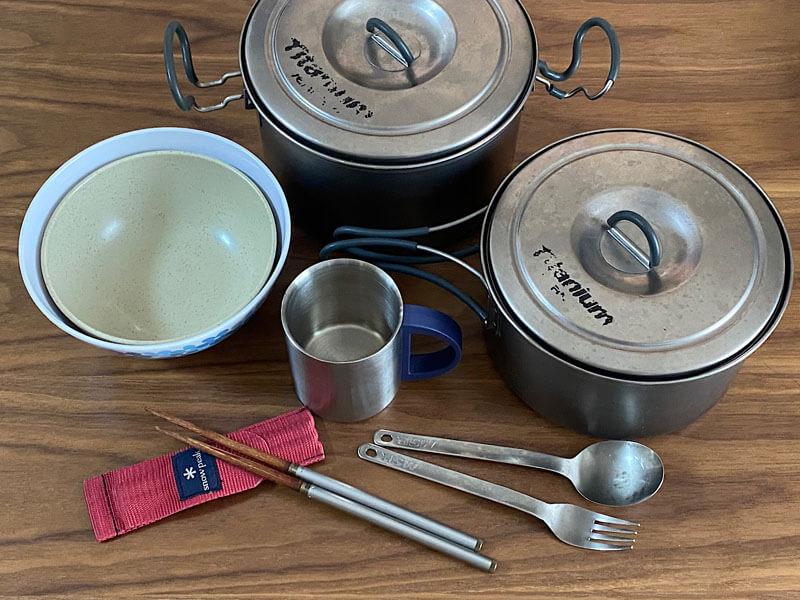 キャンプの調理用具